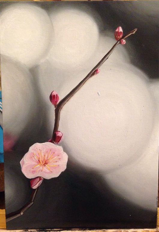 Картины цветов ручной работы. Ярмарка Мастеров - ручная работа. Купить Картина маслом, Ветка сакуры. Handmade.