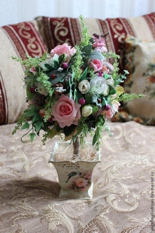 """Топиарии ручной работы. Ярмарка Мастеров - ручная работа. Купить Топиарий """"Винтажные розы"""". Handmade. Розовый, подарок женщине, веточка"""