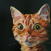 Картины и панно handmade. Livemaster - original item Oil painting red cat on black background on canvas. Handmade.