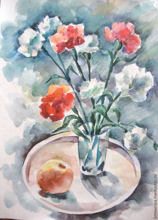 Картины цветов ручной работы. Ярмарка Мастеров - ручная работа. Купить Картина Гвоздики. Handmade. Комбинированный, Живопись, подарок на юбилей