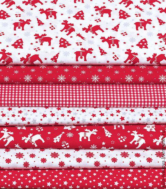 """Шитье ручной работы. Ярмарка Мастеров - ручная работа. Купить Набор хлопка """"Рождественский красно-белый"""". Handmade. Ткань"""