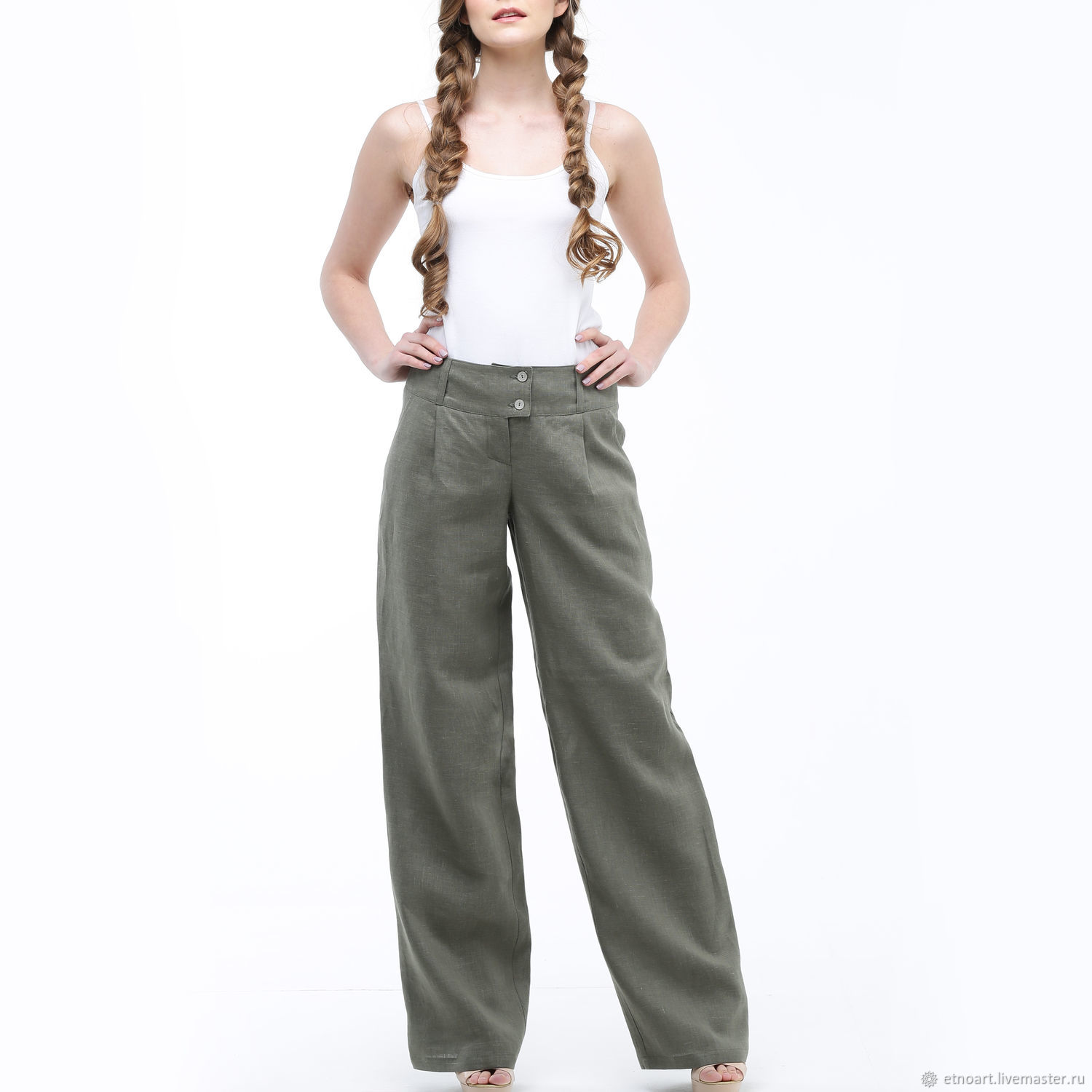 Wide-leg pants made of 100% linen, Pants, Tomsk,  Фото №1