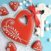 Сувениры и подарки handmade. Livemaster - original item Cakes for Lovers. Set of gingerbread Heart with the Key. Handmade.