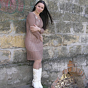 """Одежда ручной работы. Ярмарка Мастеров - ручная работа Вязаное крючком теплое платье """" Карамелька"""". Handmade."""