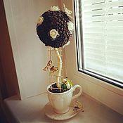 """Цветы и флористика ручной работы. Ярмарка Мастеров - ручная работа Кофейное деревце """"Белые розы""""!!!. Handmade."""