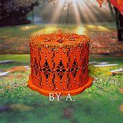 Для дома и интерьера ручной работы. Ярмарка Мастеров - ручная работа Ажурная оранжевая осенняя шкатулка для украшений точечная роспись. Handmade.
