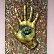 Фен-шуй и эзотерика handmade. Livemaster - original item Hamsa on wall Hamsa protection from evil eye Hand with eye Open palm. Handmade.