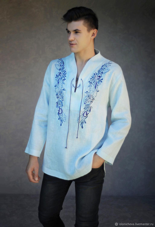 Men's shirt vyshyvanka ' Light Blue', Mens shirts, Vinnitsa,  Фото №1