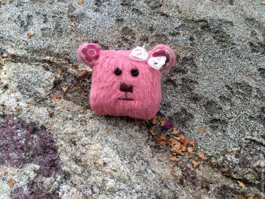 Броши ручной работы. Ярмарка Мастеров - ручная работа. Купить Брошка мишка тедди розовый. Handmade. Розовый