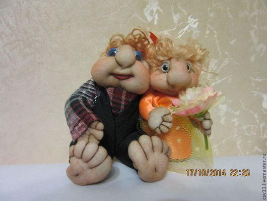 """Человечки ручной работы. Ярмарка Мастеров - ручная работа. Купить Кукла из капрона """"Влюбленная парочка"""". Handmade. Влюбленная пара, синтепон"""
