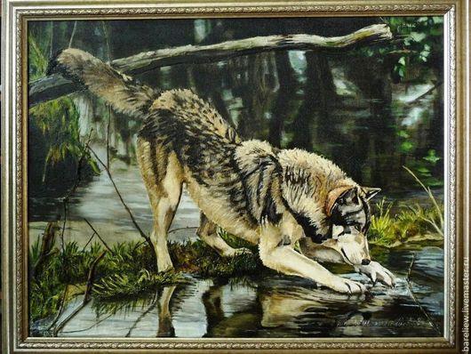 Животные ручной работы `Волк`. Ирина. Объемная картина выложена шпатлевкой на оргалите, дополнительно использую бумагу, ветки дерева и песок. Картина участвовала в выставках местного значения.