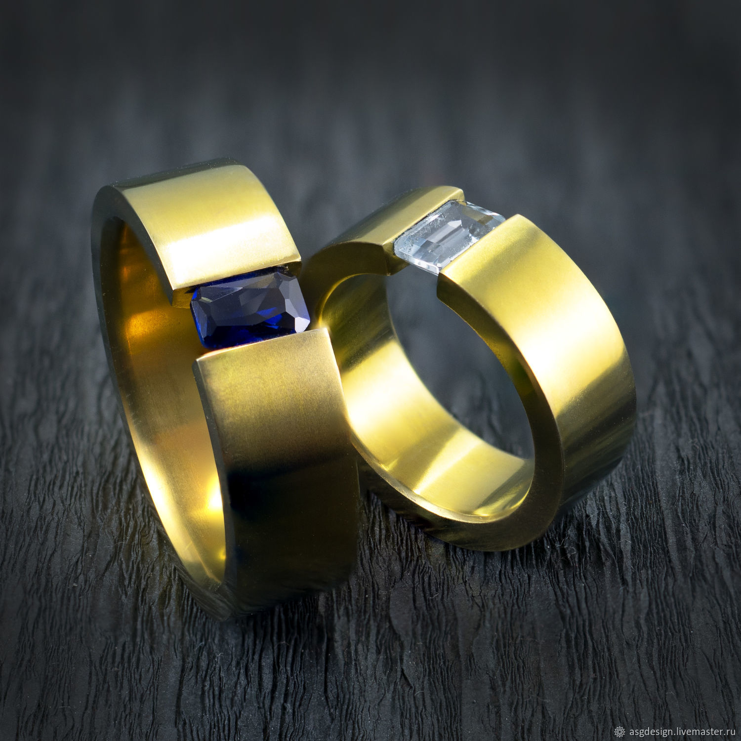 Titanium rings yellow with aquamarine and sapphire, Rings, Moscow,  Фото №1