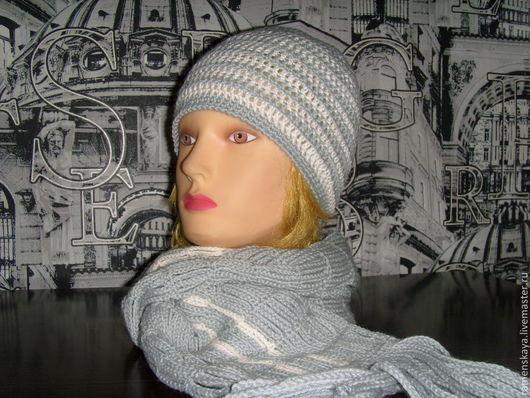 Шапки ручной работы. Ярмарка Мастеров - ручная работа. Купить Полосатый комплект шапочка+шарф.. Handmade. Серый, Вязание крючком, полушерсть