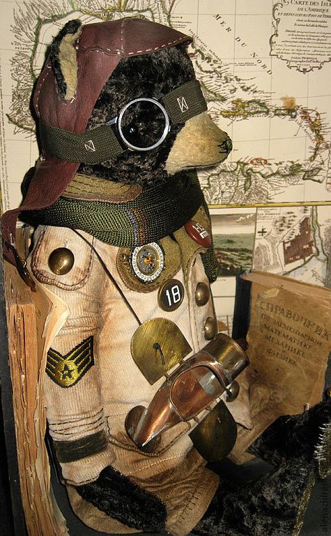 Мишки Тедди ручной работы. Ярмарка Мастеров - ручная работа. Купить АВИАТОР. Handmade. Летчик, ретро, вискоза
