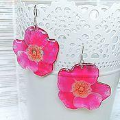 Украшения handmade. Livemaster - original item Transparent Resin Earrings from Pink Rose Flowers Earrings Boho Style. Handmade.