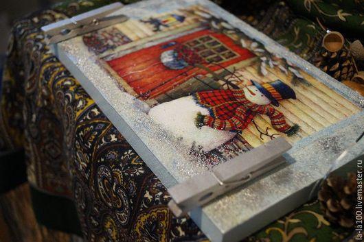 """Комплекты аксессуаров ручной работы. Ярмарка Мастеров - ручная работа. Купить Доска на дверь, доска для записок """" Снеговик"""". Handmade."""