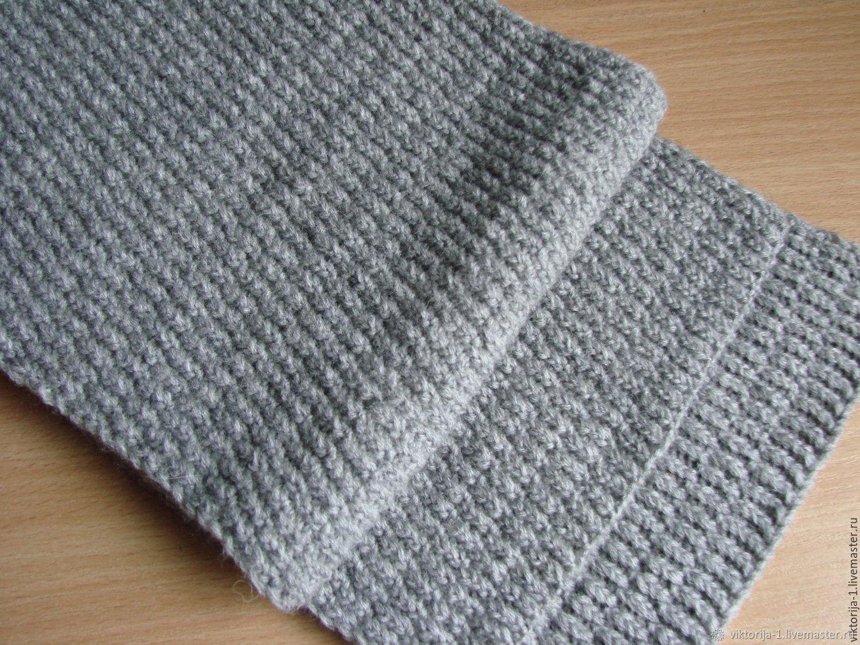 серый мужской шарф вязаный спицами колосок купить в интернет