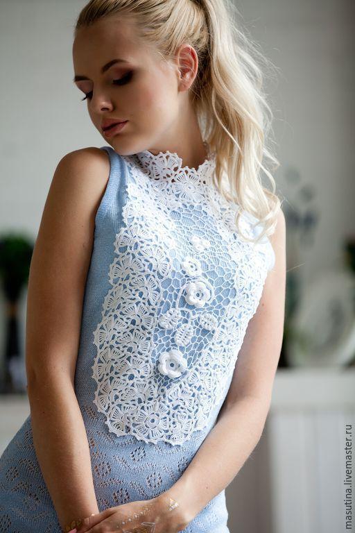"""Платья ручной работы. Ярмарка Мастеров - ручная работа. Купить Платье """"Нимфа"""". Handmade. Голубой, платье с кружевом, акрил"""