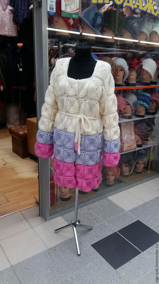 Верхняя одежда ручной работы. Ярмарка Мастеров - ручная работа. Купить Вязаное пальто. Handmade. Пальто из шерсти, ручная работа