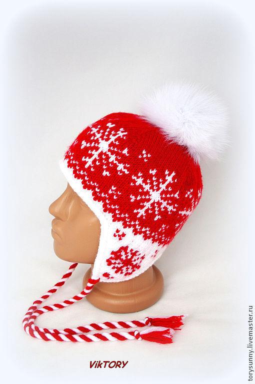 """Шапки и шарфы ручной работы. Ярмарка Мастеров - ручная работа. Купить Шапочка """"Снежинки"""".. Handmade. Ярко-красный, шапка"""