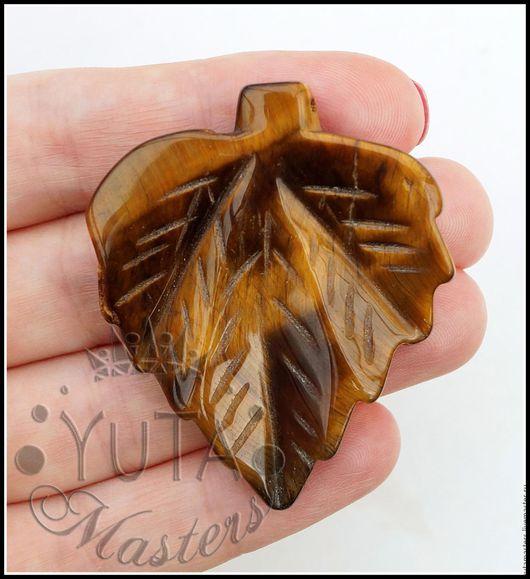 Л10-131 Тигровый глаз, подвеска в форме листа, кулон из камня 82 грн