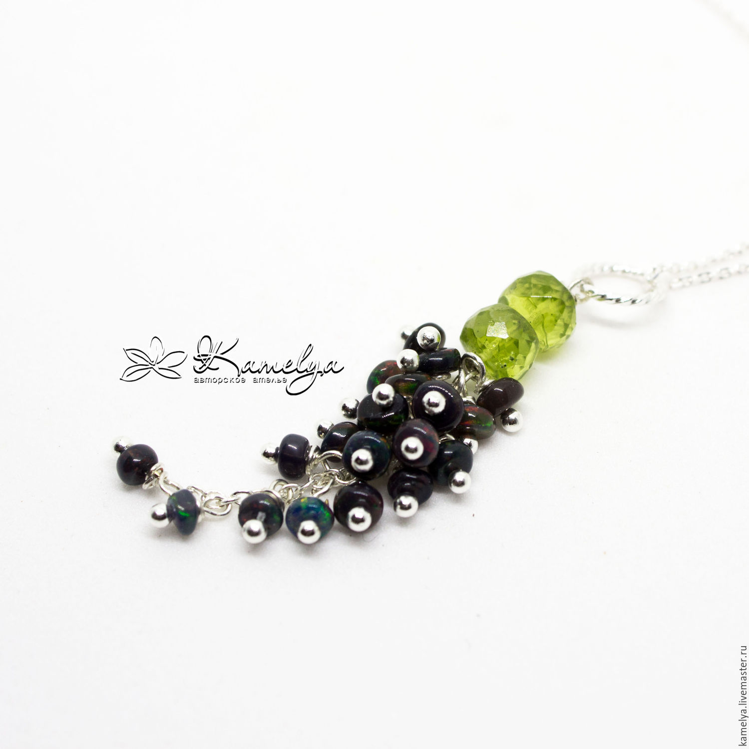 Pendant with black opal and chrysolite 'Luxury' 925 sterling silver, Pendants, Yaroslavl,  Фото №1