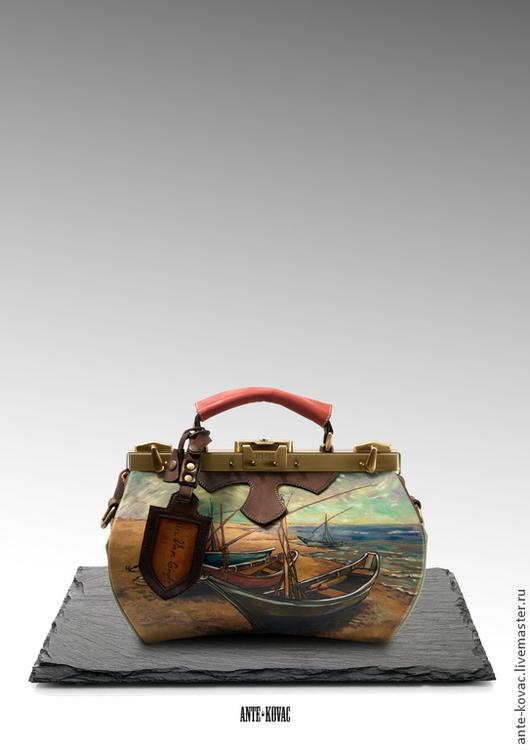 """Женские сумки ручной работы. Ярмарка Мастеров - ручная работа. Купить Саквояж """"Рыбачьи лодки"""". Handmade. Саквояж, сумка из кожи"""
