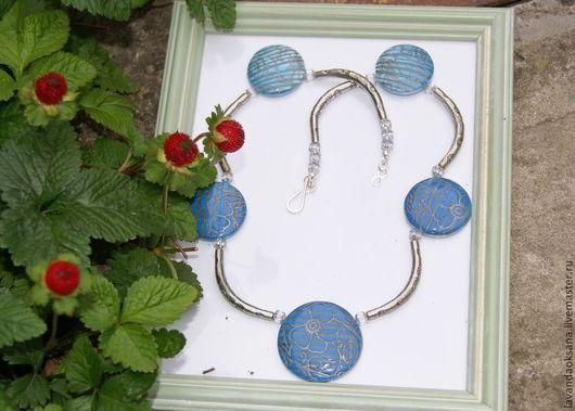 Колье, бусы ручной работы. Ярмарка Мастеров - ручная работа. Купить Колье Синие цветы из полимерной глины. Handmade. Синий