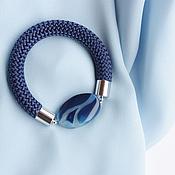 Украшения ручной работы. Ярмарка Мастеров - ручная работа Браслет с синим агатом на шнуре. Handmade.