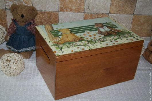"""Детская ручной работы. Ярмарка Мастеров - ручная работа. Купить Короб для игрушек """"Романтичные Тедди"""". Handmade. Короб для мелочей, мишка"""
