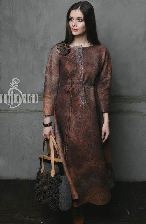 Платья ручной работы. Ярмарка Мастеров - ручная работа. Купить Валяное платье «Darkness». Handmade. Рыжий, нежность, натуральный шёлк