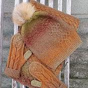 Аксессуары ручной работы. Ярмарка Мастеров - ручная работа Снуд, шапка с помпоном, варежки. Handmade.