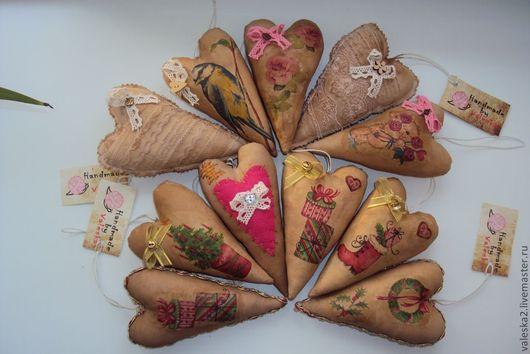 Куклы Тильды ручной работы. Ярмарка Мастеров - ручная работа. Купить Кофейные сердечки. Handmade. Сердечко, тильда, хлопок