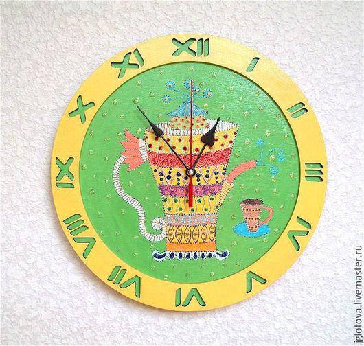 Часы для дома ручной работы. Ярмарка Мастеров - ручная работа. Купить Часы настенные Чайник расписной, часы ручной работы на кухню. Handmade.