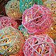 """Освещение ручной работы. Ярмарка Мастеров - ручная работа. Купить """"Pink and Mint"""" светящиеся шарики из ротанга, мятно-розовая гирлянда. Handmade."""