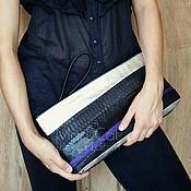 Сумки и аксессуары handmade. Livemaster - original item Clutch bag of genuine leather and Python skin. Handmade.