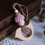 Одежда handmade. Livemaster - original item Teether-teething toy with a bird dusty pink discount. Handmade.