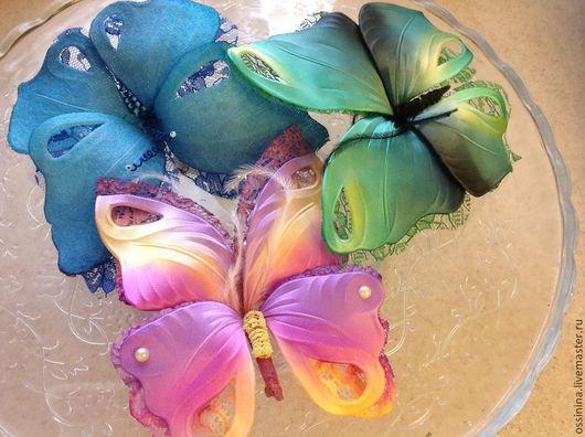 Броши ручной работы. Ярмарка Мастеров - ручная работа. Купить Бабочки. Handmade. Шелк, бабочка брошь, японский шёлк