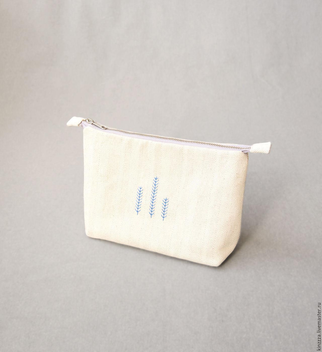 White cotton linen cosmetic bag, hand embroidery, Beauticians, Kharkiv,  Фото №1
