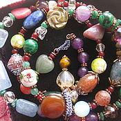 Украшения handmade. Livemaster - original item 010. LIBRA charm Bracelet 4 turns of natural stones Zodiac. Handmade.