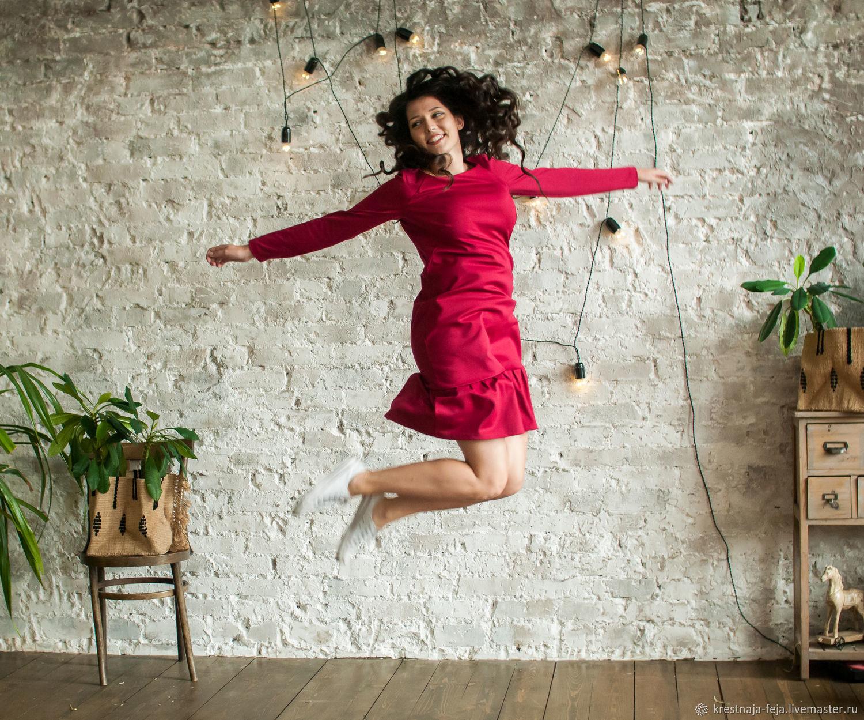 Осеннее платье из джерси Красная груша, Платья, Рязань,  Фото №1