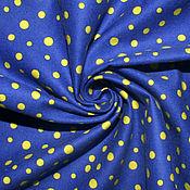 Материалы для творчества ручной работы. Ярмарка Мастеров - ручная работа Американский хлопок-фланель  ЯРКИЙ ГОРОШЕК на синем фоне. Handmade.