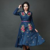 """Одежда ручной работы. Ярмарка Мастеров - ручная работа Джинсовой платье сарафан """"Цветочные сны"""" ручная вышивка гладью. Handmade."""