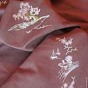 """Для дома и интерьера ручной работы. Ярмарка Мастеров - ручная работа Вышитая скатерть""""Ветка сакуры"""". Handmade."""