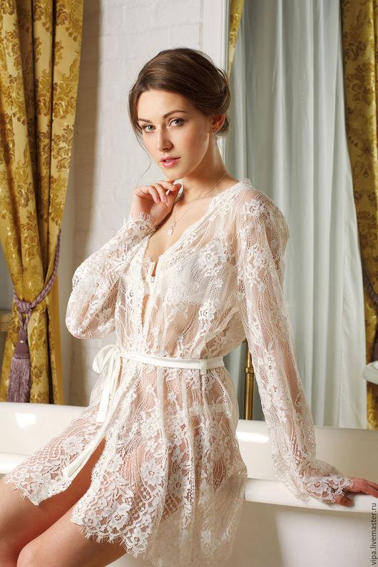 Белье ручной работы. Ярмарка Мастеров - ручная работа. Купить Versailles (кимоно). Handmade. Однотонный, невеста, белый, чулки свадебные