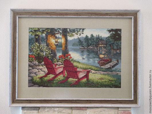 Пейзаж ручной работы. Ярмарка Мастеров - ручная работа. Купить картина вышивка крестом Летний вечер. Handmade. Картина вышитая