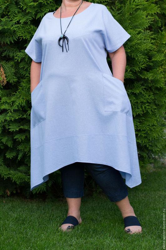 Большие размеры ручной работы. Ярмарка Мастеров - ручная работа. Купить Льняная Бохо Туника Голубая большой размер с карманами. Handmade.