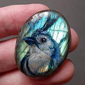 Украшения handmade. Livemaster - original item Labrador with the image of a blue bird. jewelry insert.. Handmade.