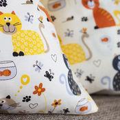 """Для дома и интерьера ручной работы. Ярмарка Мастеров - ручная работа Наволочка на подушку """"Котики"""" для детской комнаты. Handmade."""