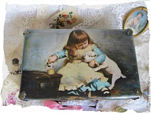 Детская ручной работы. Ярмарка Мастеров - ручная работа. Купить Винтажный чемоданчик для интерьера. Handmade. Комбинированный, детская